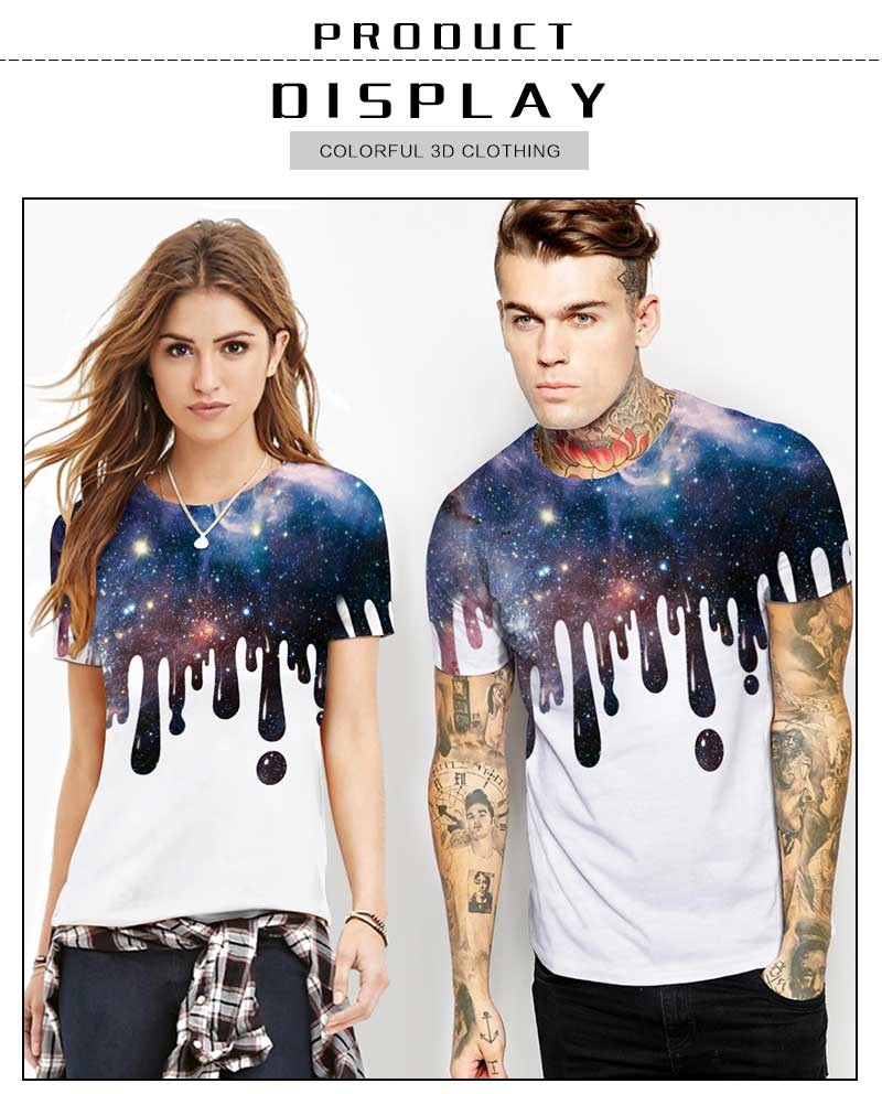 739816a08dfb2a 2018 Men T-Shirt Casual 3D Print Starry Sky Women Short Sleeve Summer Loose  White High Quality Tops Tees For Lover NA336. _01 _02 _03 ...