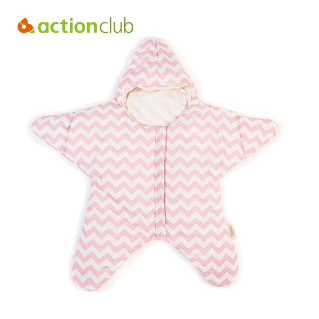 Actionclub Star Baby Sleeping Bags Winter Thicken Baby Warm Sleep Sacks Baby Boy &Girl Kawaii Cotton Striped Winter Swaddle
