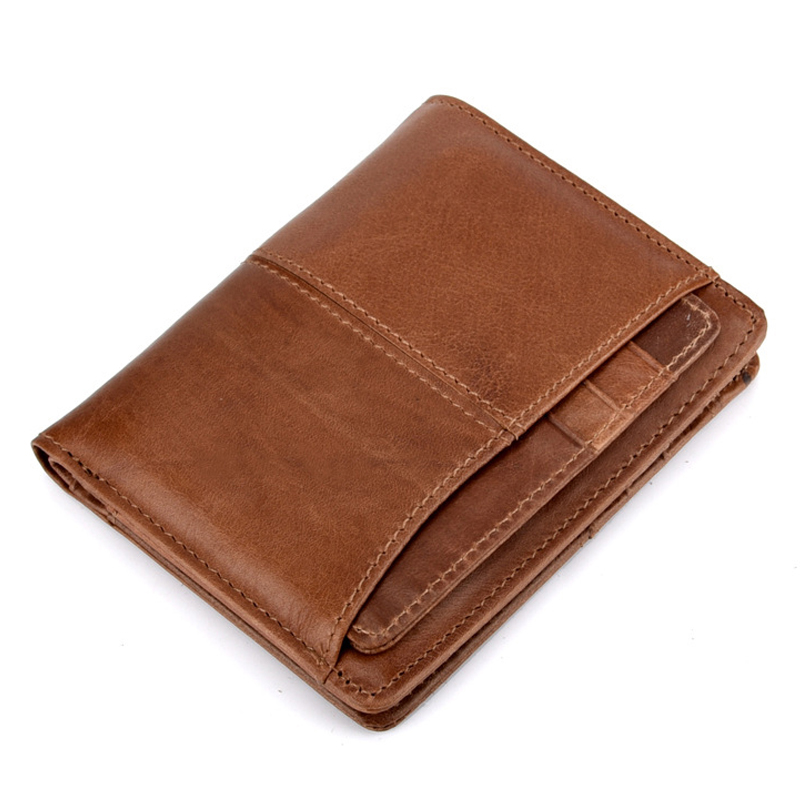 3PCS/Lot Wholesale Genuine Leather Vintage Men Short Wallets Travel Wallets Minimalist Purse with Small Slim Credit Card Holde