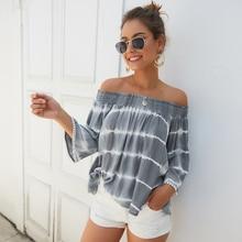 Women early autumn nine points sleeve a word shoulder blouse sexy loose cotton plus size blouse elastic shoulder blouse цена 2017