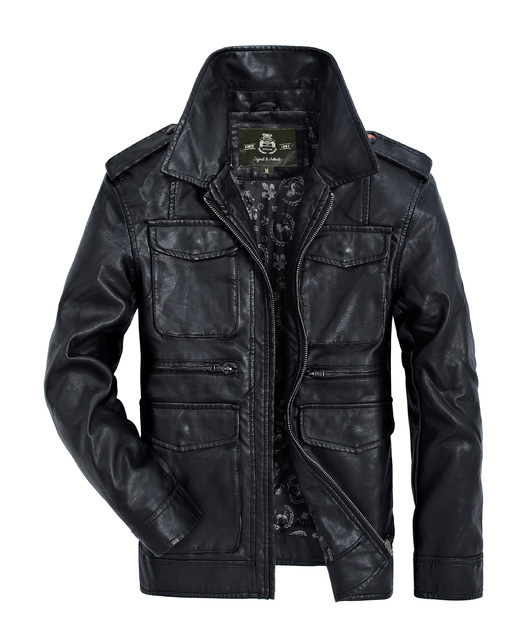 Good Middle-aged Men Leisure Leather Jacket Big Yards Men Locomotive Leather Coat Lapels Men In Winter To Keep Warm Fur Coat