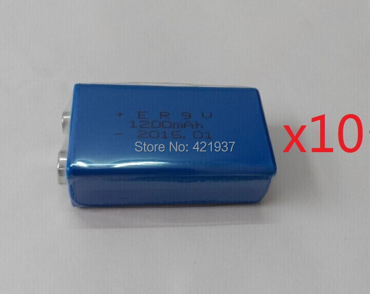 10pcs/lot 9V Battery 1200mAh 9v Lithium Battery for Smoke Alarms, Toys, Wireless Cameras, Mics Battery