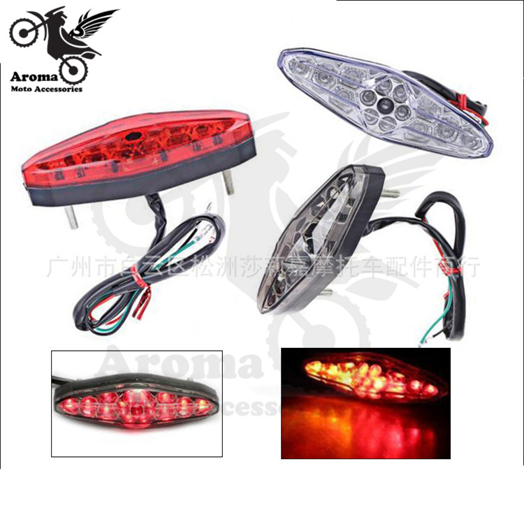 3 colors available red grey transparent lens moto LED motorcycle tail light motorbike brake light scooter warning signal light
