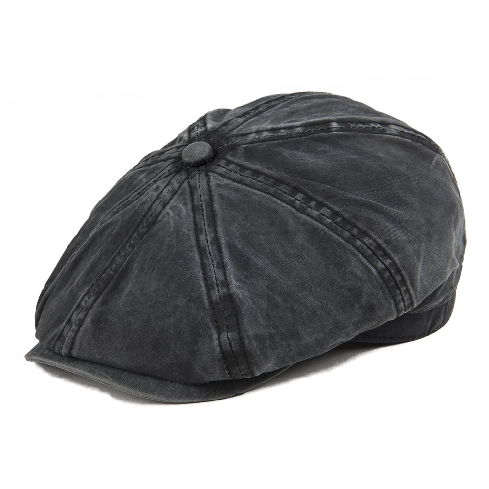a09334db6bd VOBOOM Black Washed Cotton Newsboy Cap 8 Panel Flat Ivy Cap Summer Light  Fabrics Gatsby Hat Retro Cabbie Hats 160