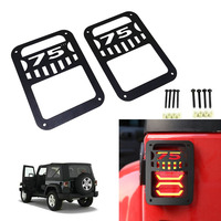 Chuang Qian 2 X Rear Lights Cover Taillight Tail Light Lamp Covers Trim Guards Protector for Jeep Wrangler JK 2007-2016