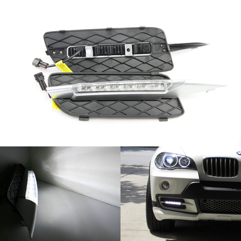 6-Leds 6W high power car LED Daytime Running Light for BMW E70 X5 SUV (2007-2009) LED DRL day light 12V waterproof drl kits