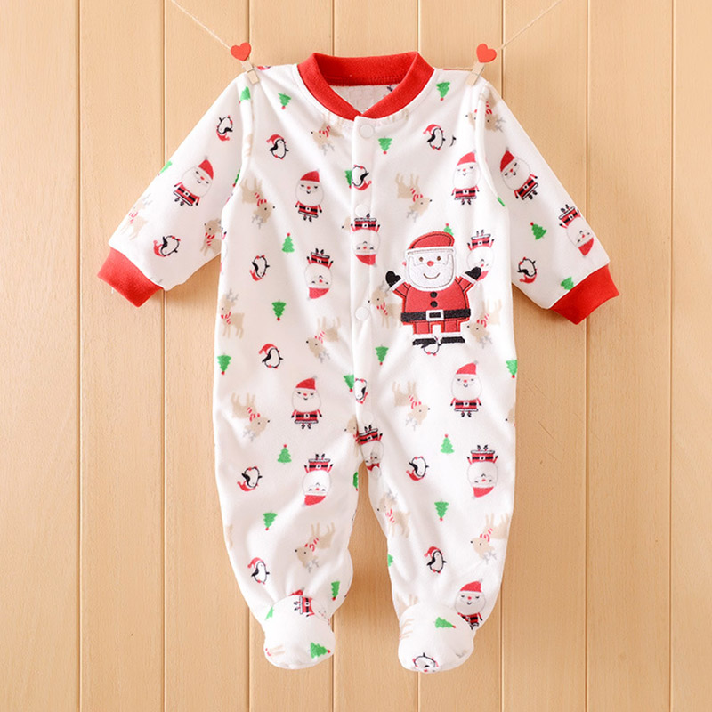 Winter Baby Rompers Cotton Baby Boy Clothes Baby Girl Clothes Christmas Newborn Baby Clothes Soft Warm Infant Jumpsuits