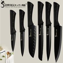 SOWOLL Нержавеющаясталь Кухня Ножи 3,5 »5 »7»8» Обстрагывая утилита Santoku нарезки хлеба мясной нож шеф-повара рыбы Кухня гаджеты