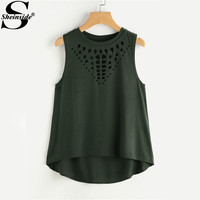 Sheinside Laser Cut Tank Top Black Causal Basic Women Sleeveless Dip Hem Summer Tops 2017 Plus Size O Neck Slim New Cotton Tank