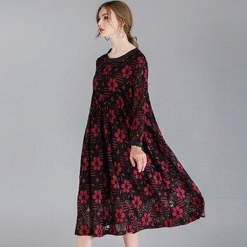 dfd9b38e8ef 2019 цветочный кружево Длинные платья плюс размеры имперский Высокая талия  одежда с длинным рукавом Цветы для женщин Мода весеннее платье