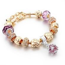 Women Bracelet 2016 Newest Pink Crystal Bracelet Gold Chain Bracelets Bangles Luxury Jewelry Pulseras Sbr150331 adjustable 19 3 cm women s fashion jewelry pink crystal bracelet for women fit pandora gold bracelet handmade jewelry sbr150331