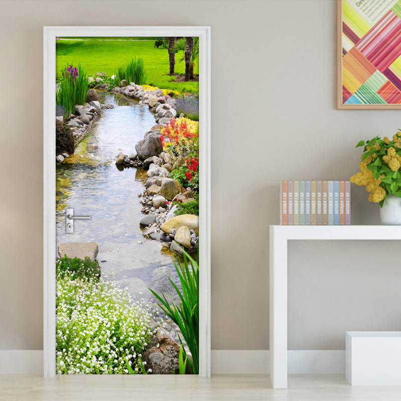 Park Creek Grass 3D DIY Wall Painting Mural Wallpaper Door Vinyl Wall Paper Living Room Bedroom Door Sticker PVC Mural WallPaper book knowledge power channel creative 3d large mural wallpaper 3d bedroom living room tv backdrop painting wallpaper