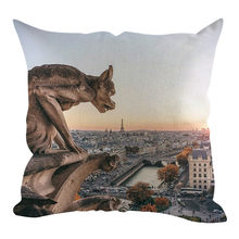 ecorative cushions for sofa Modern Style Paris Notre Dame Linen Hug Pillow Home Decoration 45x45cm cushions coussin de chaise(China)