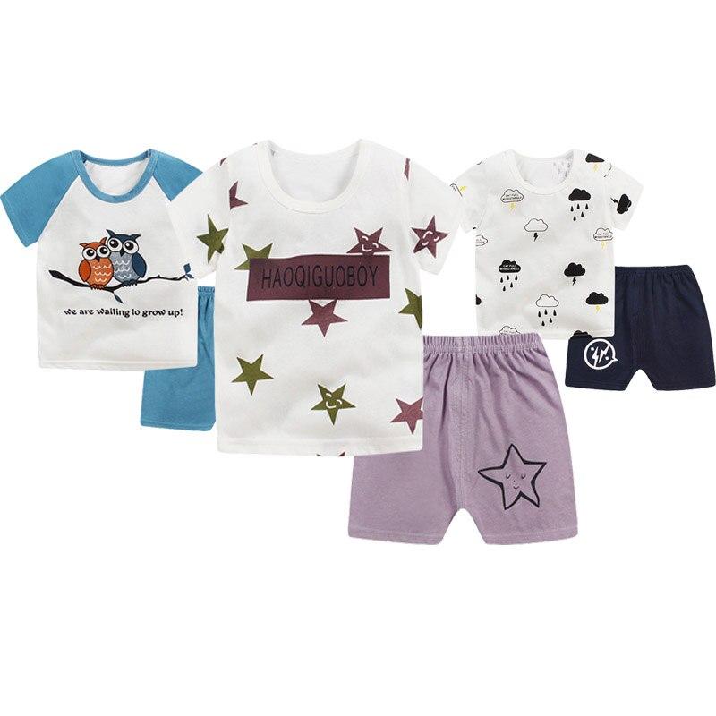Kids Boys Girls Casual Cute Cotton Star Pattern Short Sleeve T-shirt Tops + Shorts Pants Summer Children Clothes Sets