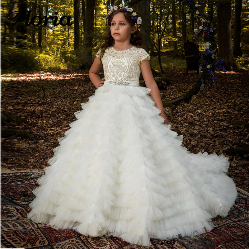 New Arrival Tiered   Flower     Girls     Dresses   Lace Appliques Beading Short Sleeve Ball Gown Custom Made Holy First Communion Gowns
