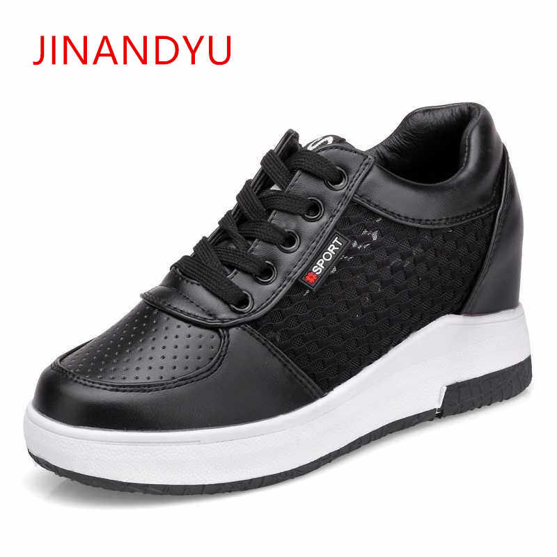 3bf52e3781bc8 Woman Hidden Heels 6CM Casual Platform Wedges Shoes for Women ...