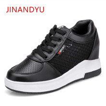 Woman Hidden Heels 6CM Casual Platform Wedges Shoes for Women Fashion Black White Sneakers 2018 Ladies