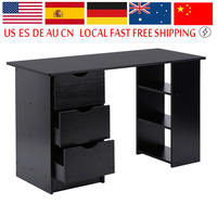 Home Office Computer Desk Environment PC Laptop Table With 3 Drawers and 3 Book Shelves Large Capacity Furniture Supplies