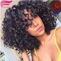 Короткие бразильские вьющиеся переплетения человеческих волос 4 пучки короткие волосы волна спираль curl weave afro kinky человеческих волос бразильский свободные волна