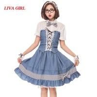 Liva girl Sweet Lolita Sets For Women Girl Tops+Skirt Cosplay Sets Female Clothing Slim Fit Lolita Shirt And Skirt Maid Sets