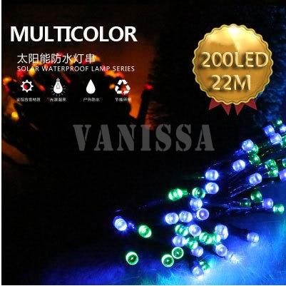 22 M 200 LED de la Secuencia Solar Luces de Hadas de la Alta Calidad Impermeable de la Energía Solar 8 Modos de Luces Solares Para El Jardín Decoración