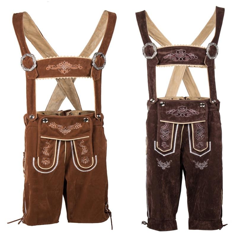 Deluxe Men's Bavarian Lederhosen Beer Guy Costume Oktoberfest Carnival Party Fancy Dress Suspenders Shorts