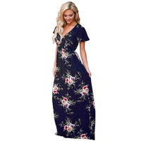 CAYA BOX Women Maxi Dresses Blue Dark V Neck Floral Short Sleeve Large Size Printed Long