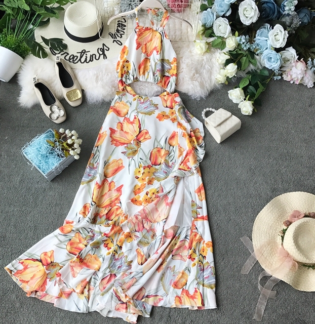 Women Beach 2019 New Hanging Neck Open Back High Waist Casual Dress Lady Sleeveless Print Sexy Vestidos F530