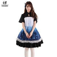 ROLECOS 2018 Fashion Short Sleeveless Dress For Women Sweet Lolita Dress For Girls Party Aladdin Castle Print Dress With Lace