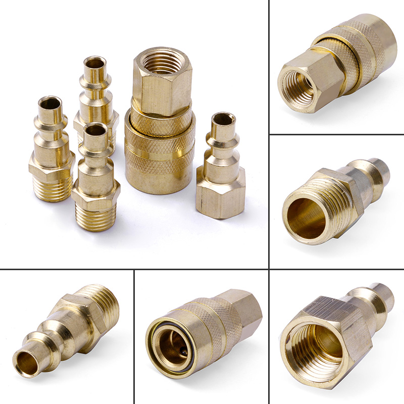 New Arrival 5Pc Brass Quick Coupler Set Solid Air Hose Connector Fittings 1/4 NPT Tools silver tone sky blue piping fitting 5 way air hose multi pass quick coupler sml 5