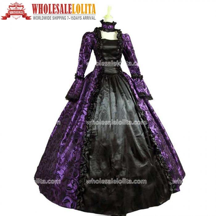 Victorian Gothic Georgian Period Dress Halloween Masquerade Ball Gown - Maskeradkläder och utklädnad - Foto 5