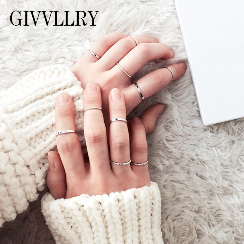 US $1.52 49% OFF|GIVVLLRY Minimalist 10 pcs/set Basic Midi Rings Set Fashion Jewelry Elegant Gold Silver Color Classic Knuckle Rings for Women-in Rings from Jewelry & Accessories on Aliexpress.com | Alibaba Group