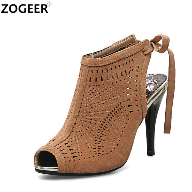 d7552900674d Big size 43 2019 Summer Open Toe Ankle boots Sexy Cut-outs Shoes Woman High  Heels sandals Woman Fashion Suede Ladies Shoes