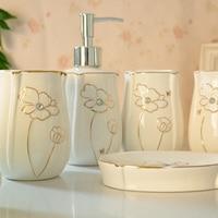 En céramique set de lavage salle de bains cinq pièces ensemble de salle de bains cadeau de mariage boîte de cadeau de mode ensemble