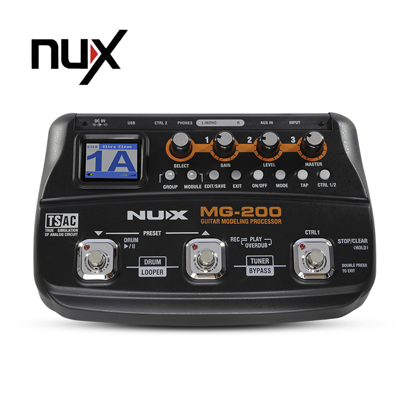 nux mg 200 guitar modeling processor guitar multi effects processor with 55 effect models guitar. Black Bedroom Furniture Sets. Home Design Ideas