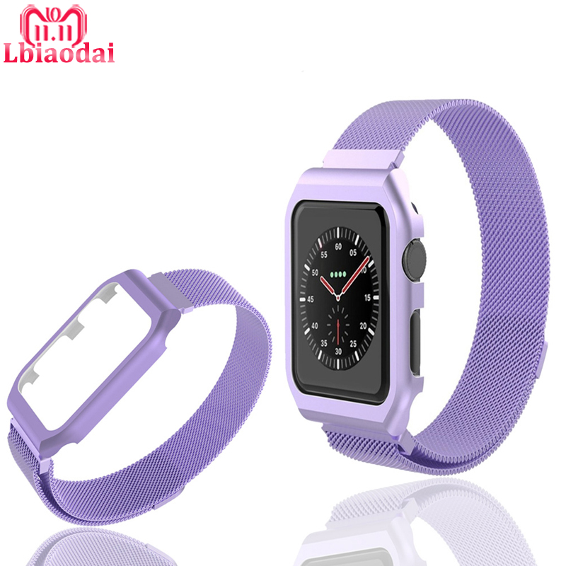 все цены на Milanese Loop Strap For correa Apple Watch band 42mm/38mm iwatch series 3 2 1 wrist Stainless Steel Link Bracelet & case belt онлайн