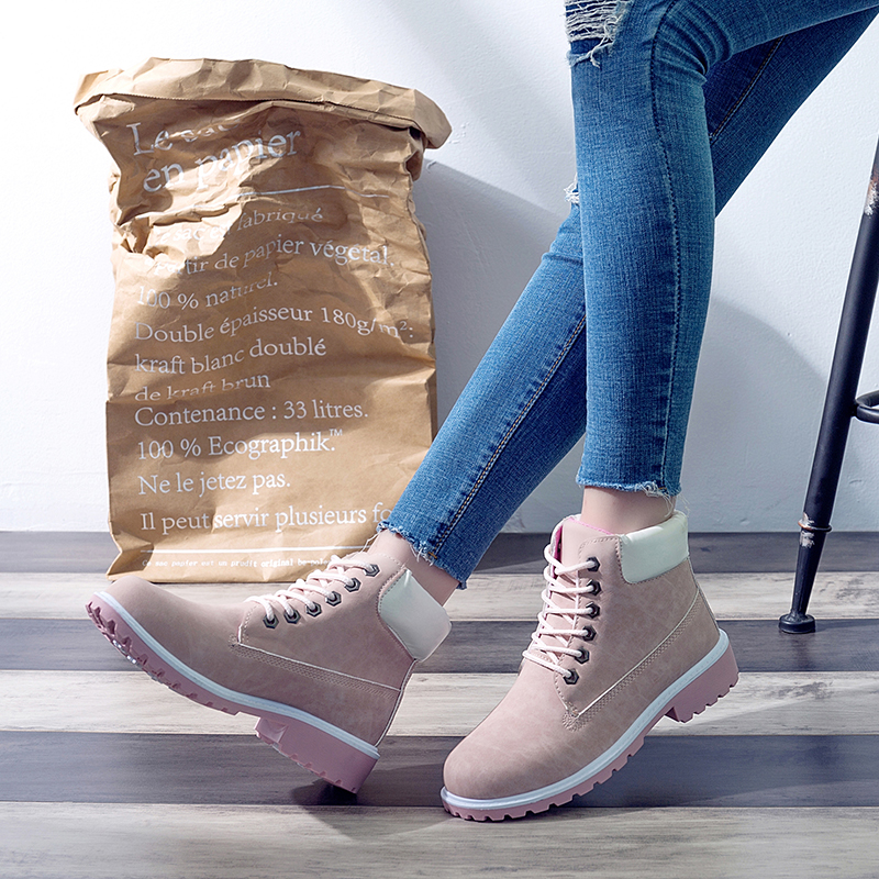 Image 2 - ERNESTNM 2019 Autumn Winter Shoes Women Plush Snow Boot Heel Fashion Keep Warm Women's Boots Woman Size 36 42 Ankle Botas Pink-in Ankle Boots from Shoes