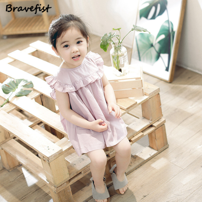Pink Baby Girl Short Sleeve Dress Children Summer Cotton Linen Dress Vintage Loose Shirt Dresses Quality Kids Saia Girls Dress