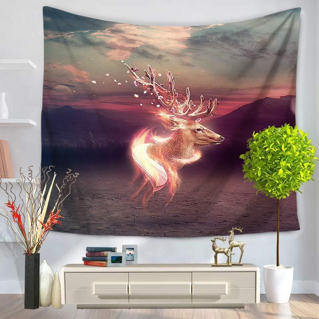 Elk Tapestry Painting Mandala Tapestry Beach Table Cloth Hippie Blanket Scenery Decoration 150x130cm Tapestry Wall Hanging Tapiz
