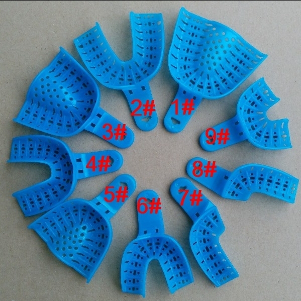 9 Pieces Blue Dental Supplies Dental autoclavable Impression Tray as shown in photo