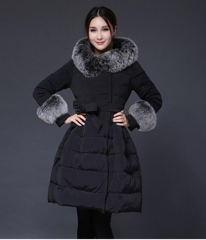 Winter   Down     Coat   for Women Fur Hat Black Dark Blue White Wine Red Hem Pleated Thicken plus Size Women's Winter jacket