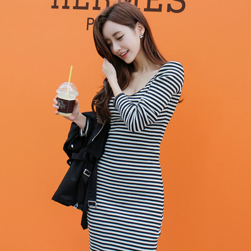 56ad914791 2017 free ship women s A-line knitted stripes dress slim packet hip long  sleeves strap