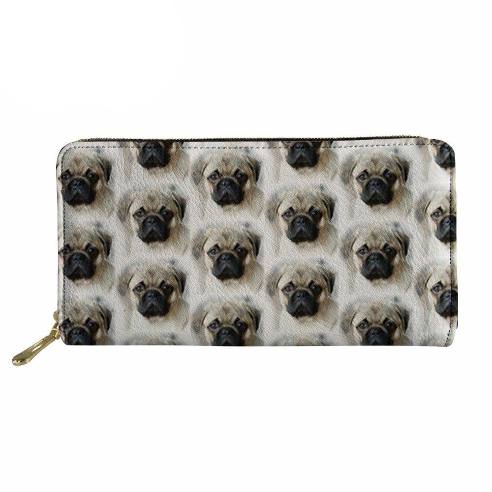 Customized Women purses canta Credit Card Cluth Thin Pu Leather Phone Purse Cash Holder Females Cute Pug Dog Design Money Bag