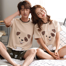 Couple Animal Pajama Set Summer Men Pyjamas women Short Sleeve Cotton Casual Sleepwear Suit Big Size Homewear Lingerie Pyjama