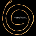 (450*2mm) Bead Necklace Jewelry Fashion 18 k Gold Plated Nickel Free