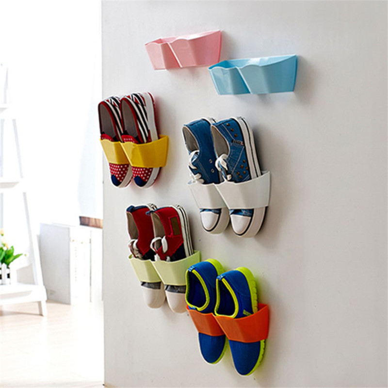 5PCS Home Useful Convenient Wall-Mounted Paste Shoes Storage Plastic Box Travel Hotels Storage Organizers 25*7.5*6cm