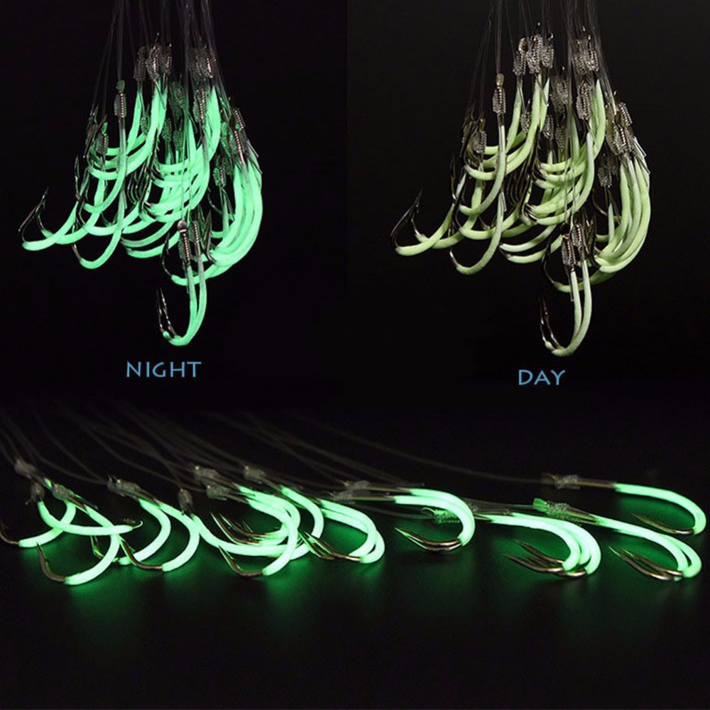 30 pcs Luminous Fishing Hooks Authentic Barbed Hook With Fishing Line Overturned Fish Hook 12# 14# 16#