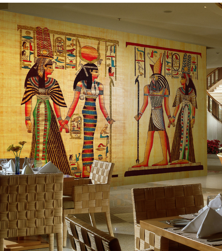 European retro ancient egyptian room escape character for Egyptian mural wallpaper