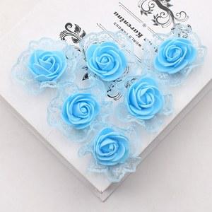 Image 2 - 20ピース造花pe発泡レースローズため結婚式の装飾diyスクラップブッキング手作りクラフトアクセサリー花輪花