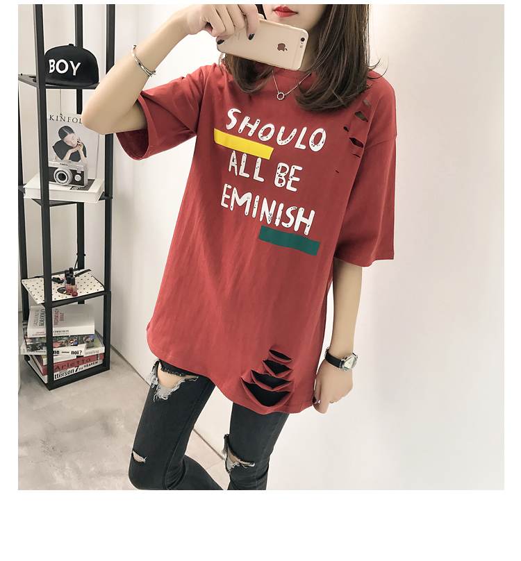 XL- 4XL 2019 new plus size summer loose High Street hole Letter print short sleeve O-Neck women T-shirt top tee TY5 33